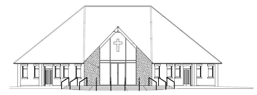 Illustration of the new Narthex for St Clare's church