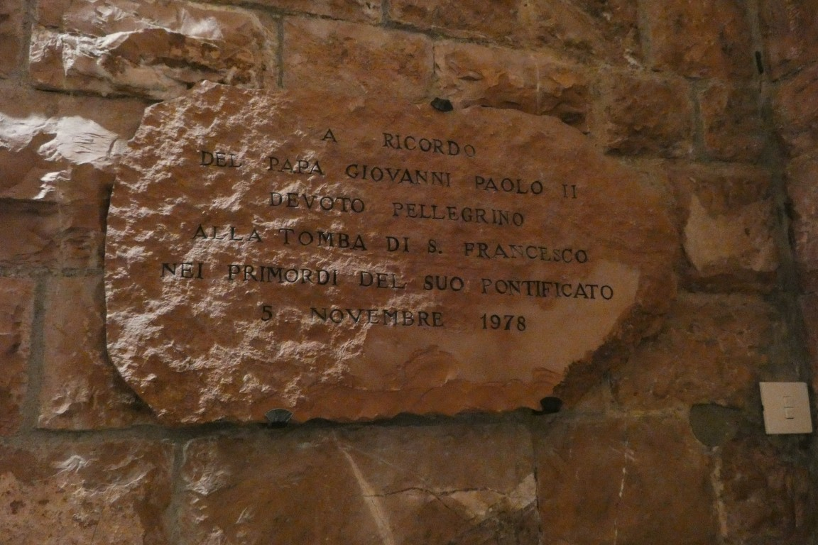 Plaque commemorating JPII visit to Assisi on same day